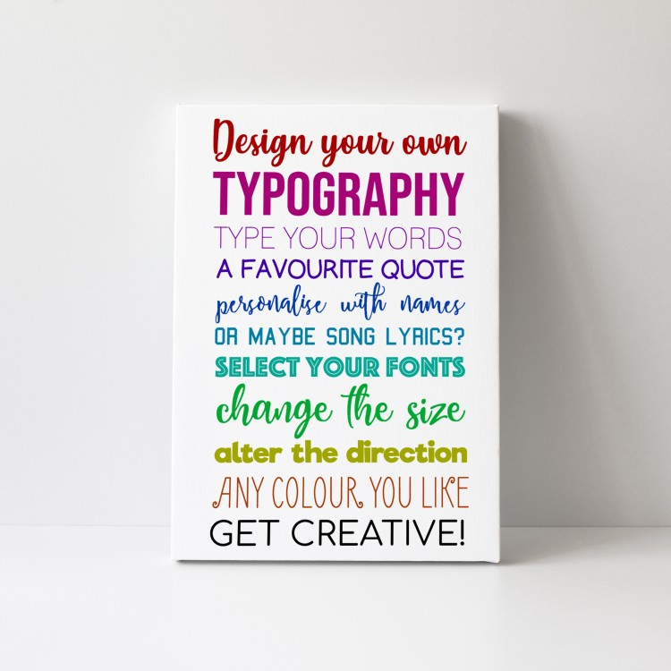 Design Your Own Typography Canvas - Portrait