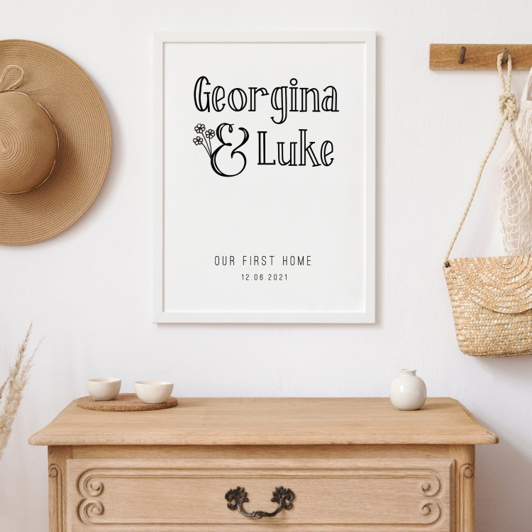 First Home Portrait Typography Poster