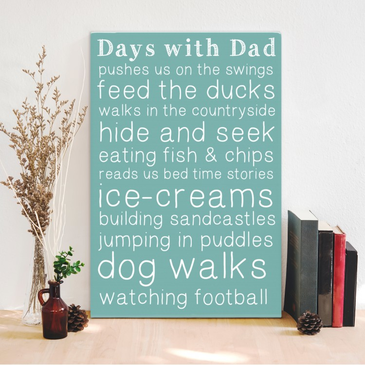 Days with Dad Typography Canvas