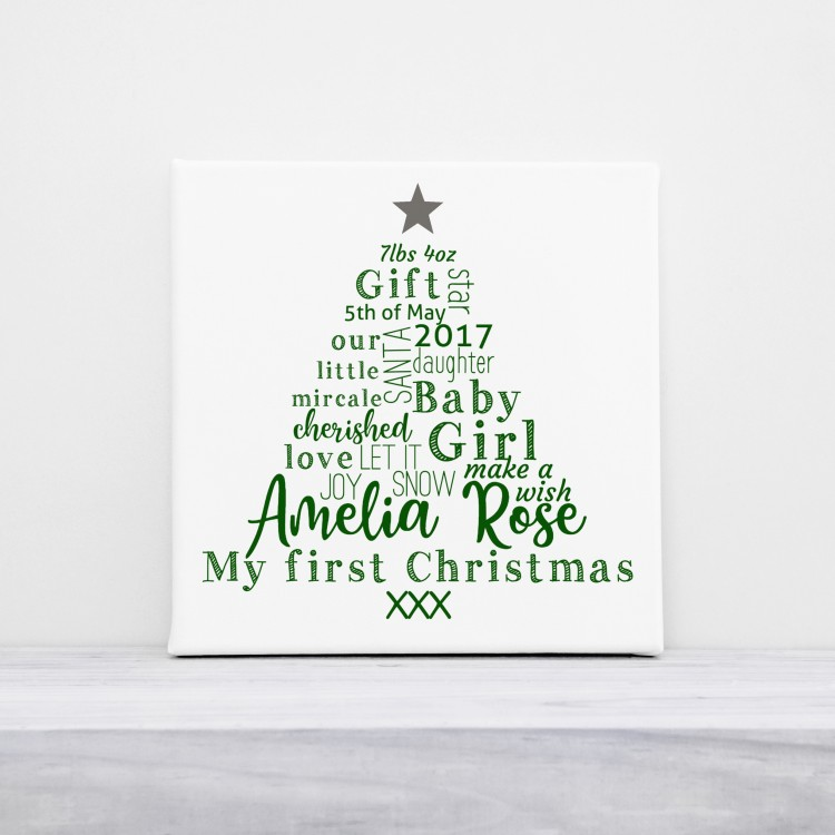 """10"""" x 10"""" First Christmas - Typography Canvas"""