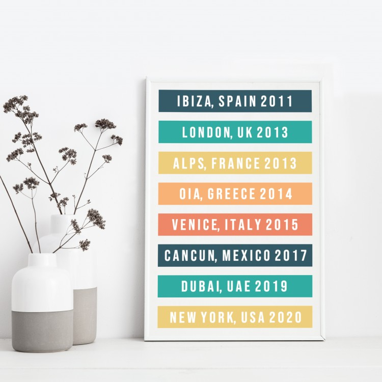 Favourite Destinations Typography Poster