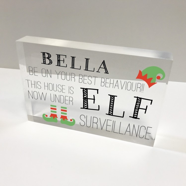 6x4 Acrylic Block Glass Token Landscape - Elf surveillance