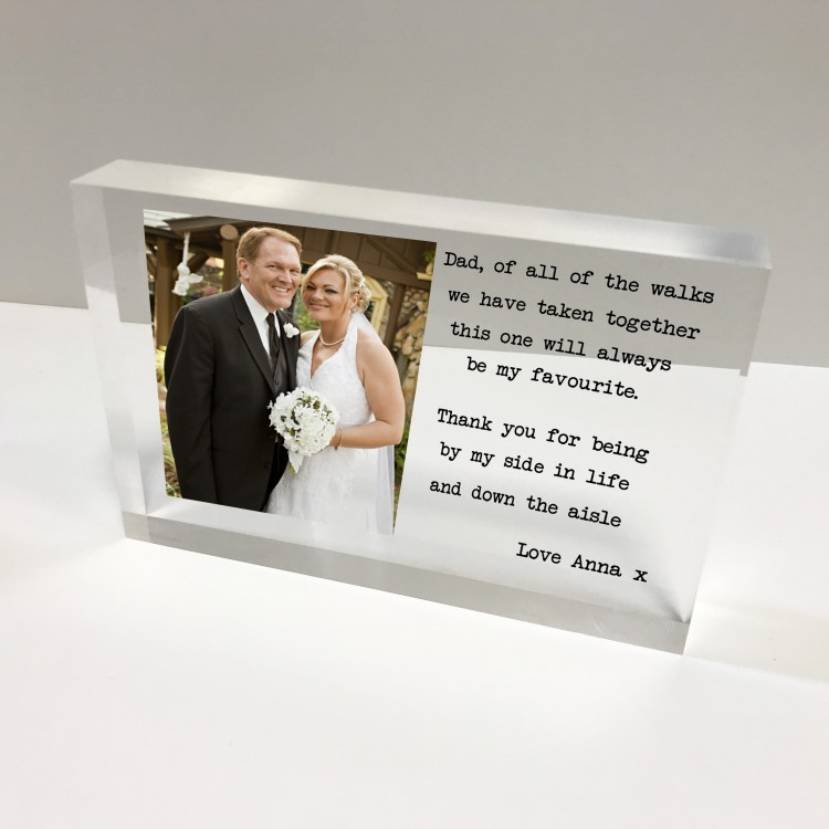 6x4 Acrylic Block Glass Token - Father of the Bride