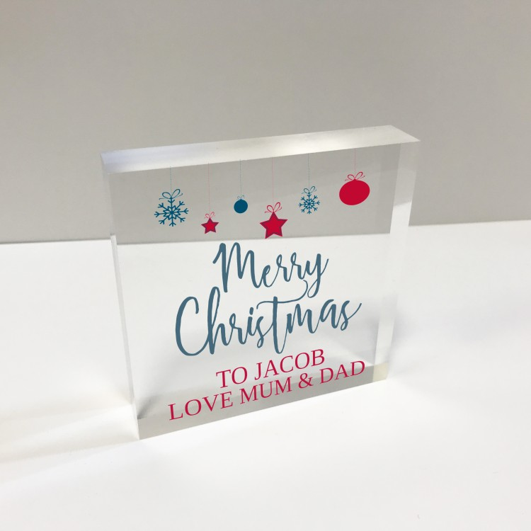 4x4 Acrylic Block Glass Token Square - Merry Christmas baubles