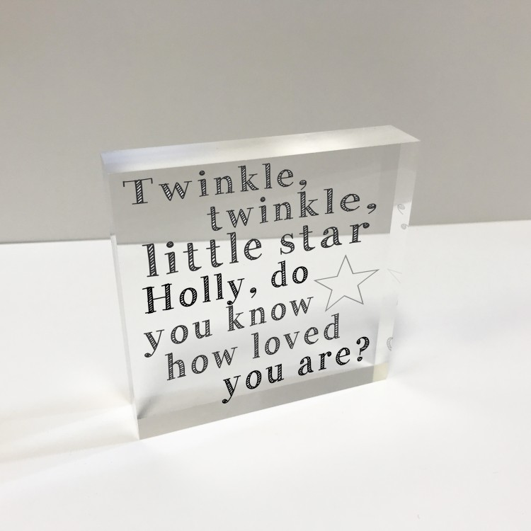4x4 Acrylic Block Glass Token Square - Twinkle