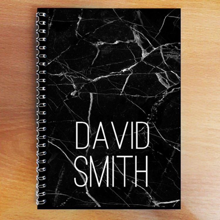 Personalised Photo Notebook - Black Marble