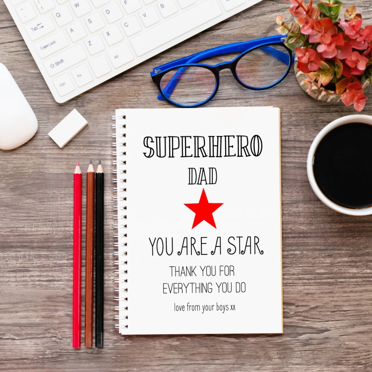 Personalised Superstar Dad Notebook A4