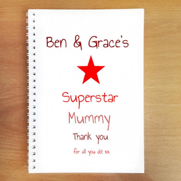 Personalised Superstar Mum Notebook