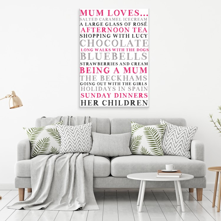 'Mum Loves...'  Typography Canvas