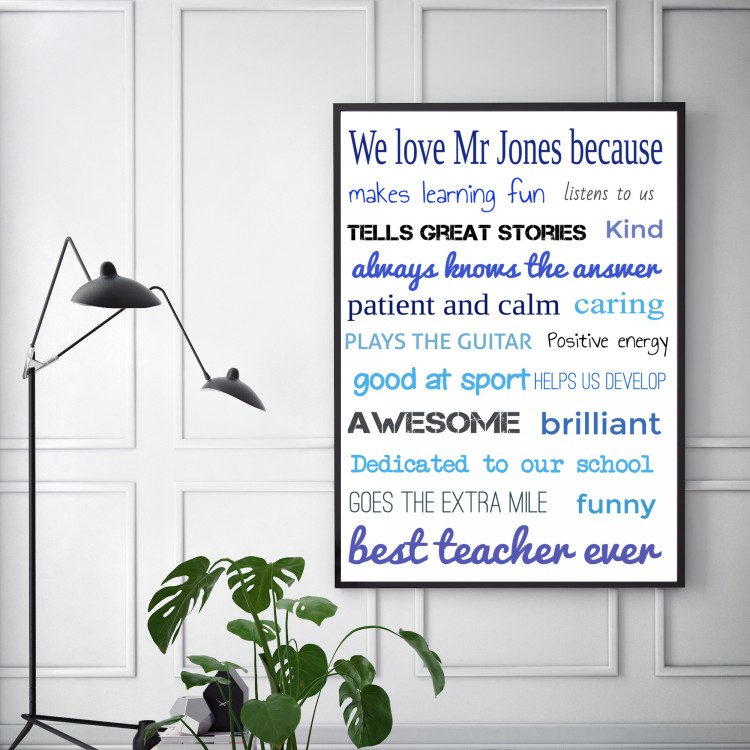 We love our teacher Typography Poster - from £1.95