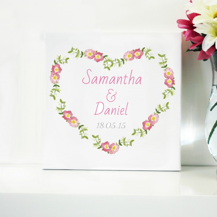 Floral Love Typography Canvas