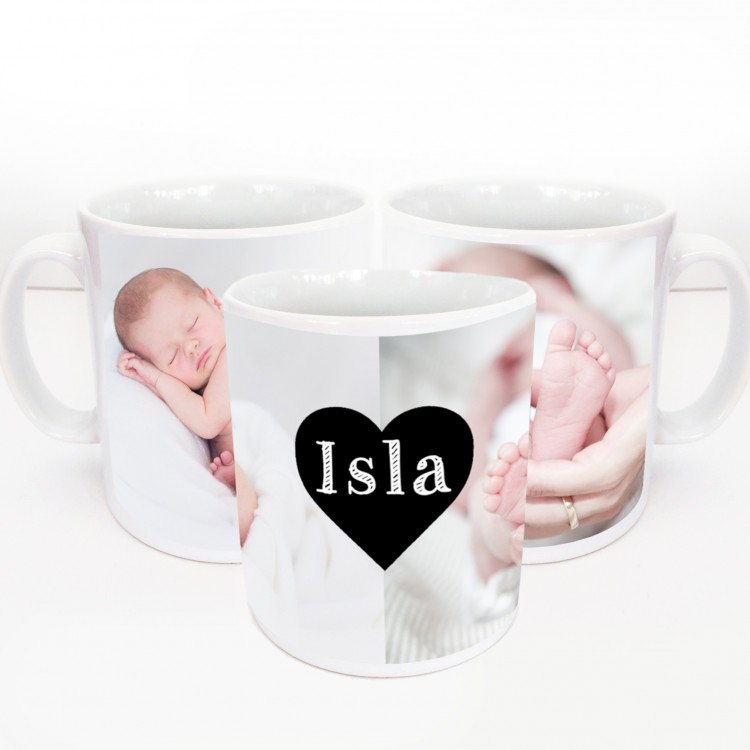 Wrap Around Mug With 2 Photos + Heart