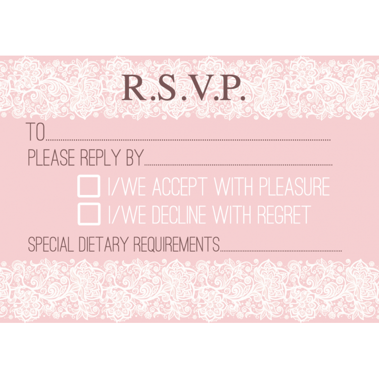 RSVP Cards Design 3 Pink Lace Template